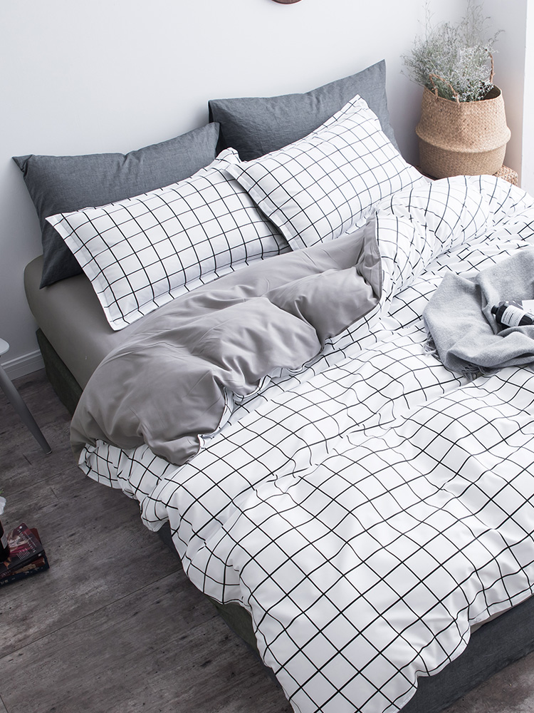 Gray White Grids Bedding Set